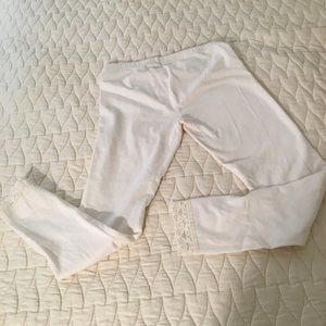 Girls' White Leggings w/Lace